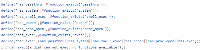 For this, the generic PHP web shell checks various executing functions of PHP like the exec(), system(), etc.