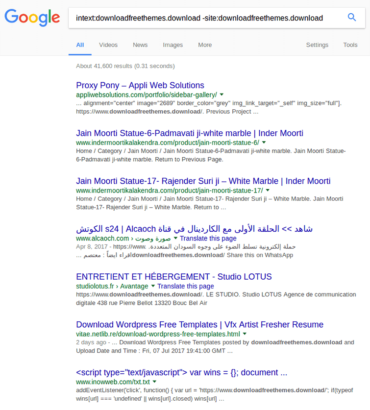 wp-vcd.php Malware Attack in Google-Search Results