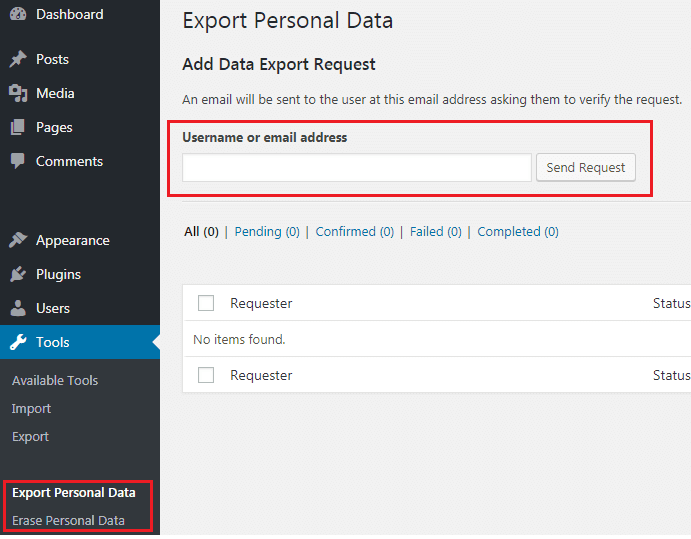 GDPR Export and Erase Personal Data