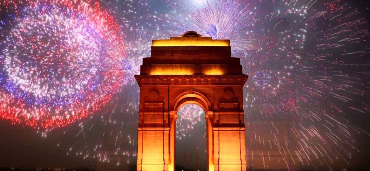 Happy New Year Newd Delhi India Gate