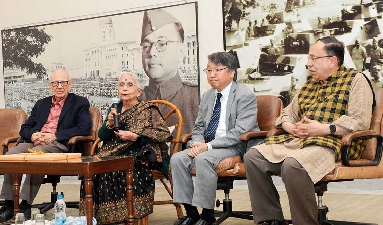 In the above picture, (From left) Leonard Gordon, Netaji Subhas Chandra Bose's biographer; Krishna Bose, wife of Netaji's nephew Sisir Bose; Masayuki Taga, consul-general of Japan in Calcutta; and Sugata Bose, historian and son of Krishna and Sisir Bose, at the launch of a DVD pack on Netaji's life on 21st January, Monday. The DVD, recited by Krishna Bose, contains authentic photos from Netaji Research Bureau.
