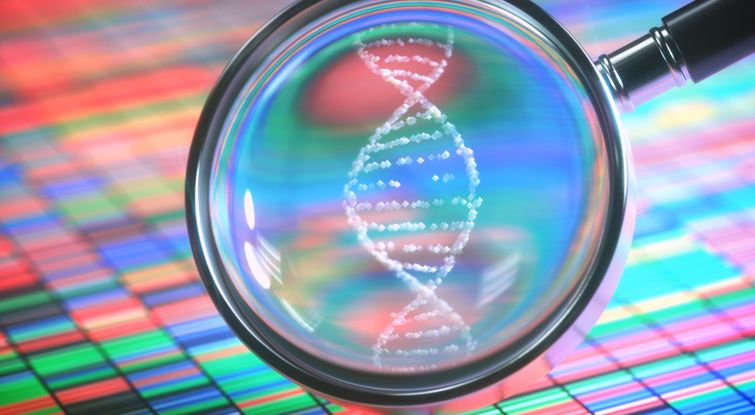 DNA Sanger Sequencing and a Magnifying Glass Showing the DNA Helix