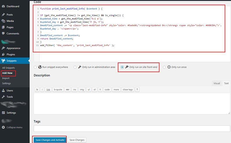 Code Snippet Plugin
