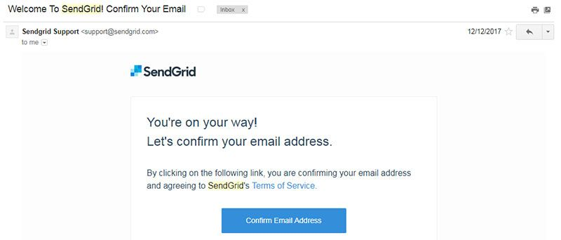 SendGrid Welcome Mail
