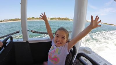 Girl Having Fun On Aquaduck Gold Coast