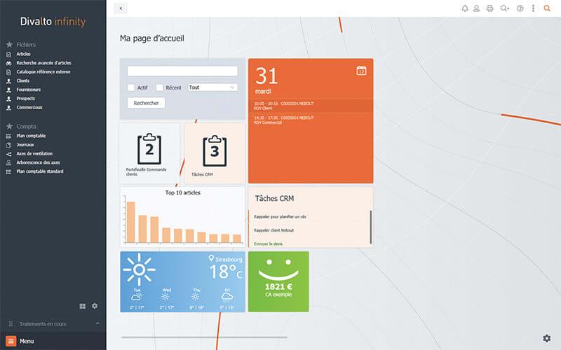 Interface accueil de Divalto infinity