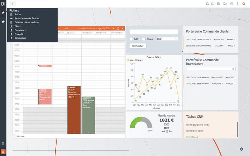 Widget planning sur l'ERP Divalto infinity