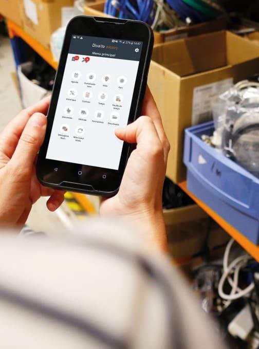 app crm mobile divalto weavy stock logistique