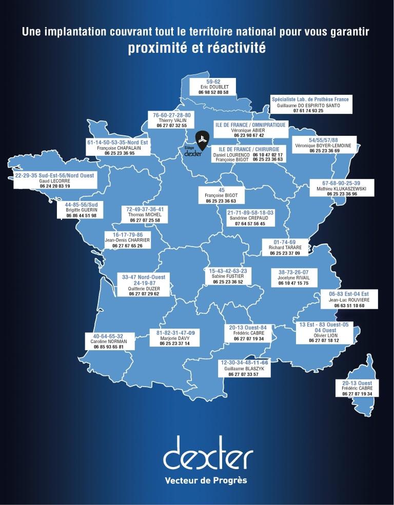 carte des commerciaux de l'entreprise dexter