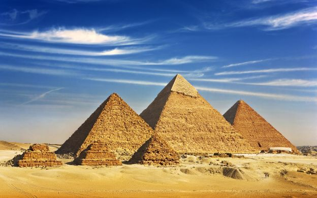 Pyramids of Giza and Egyptian Museum from Safaga