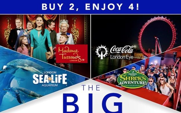 The Big London Attraction Ticket - Access to Madame Tussauds, The London Eye, Sealife and Shrek's Adventure