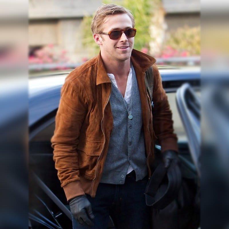 Ryan-Gosling- Brown-Suede- Leather-Jacket