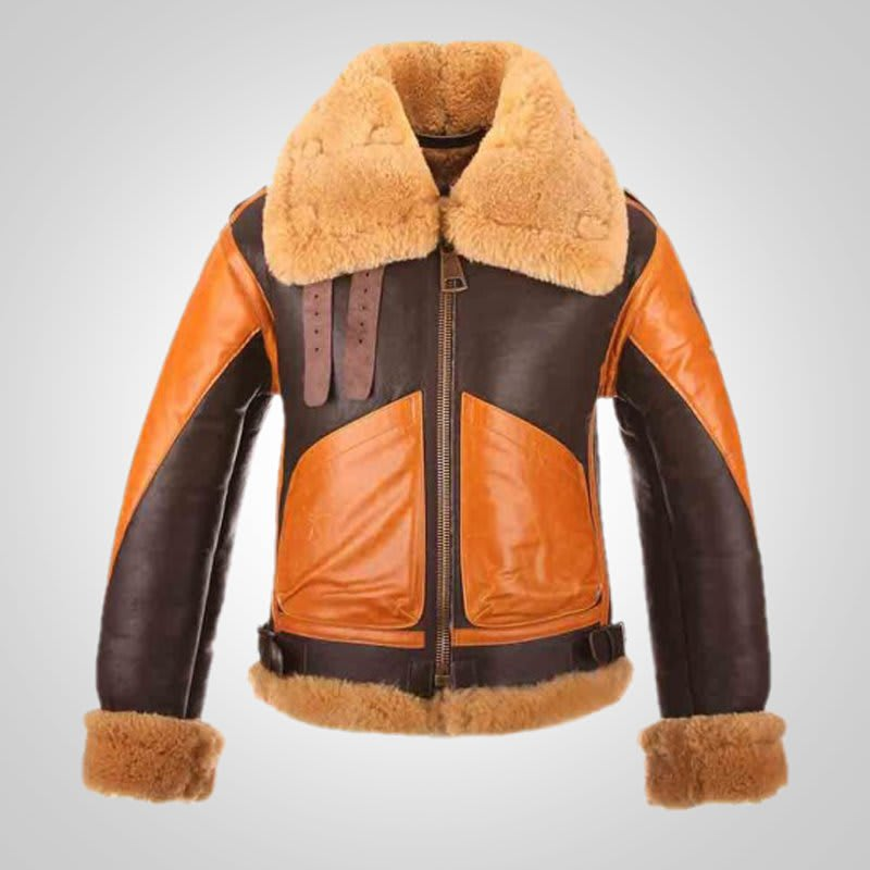 RAF-B3-Bomber-Aviator-Winter-Shearling-Leather-Jacket