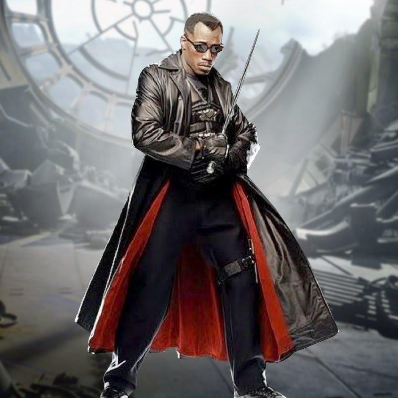Blade-Wesley-Snipes-Black Leather-Trench Coat