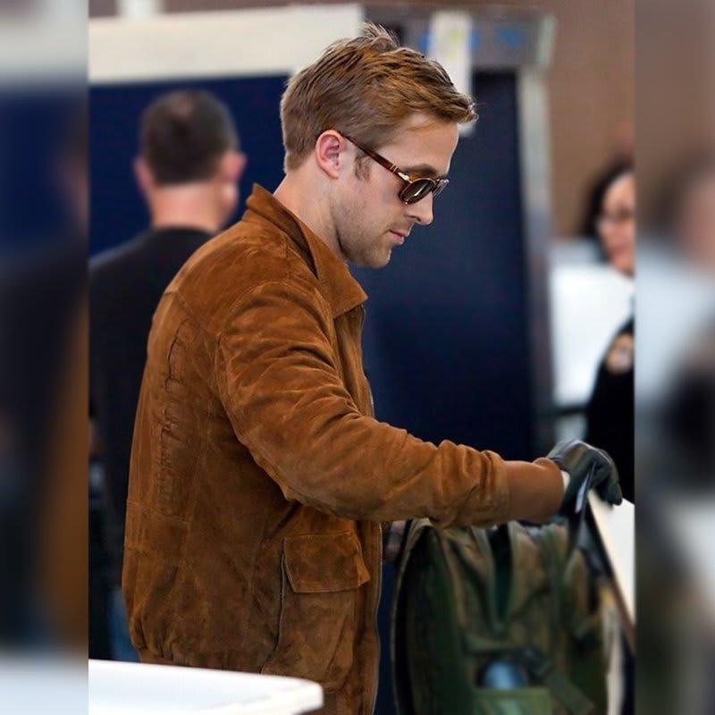 Ryan-Gosling Brown-Biker Leather-Jacket