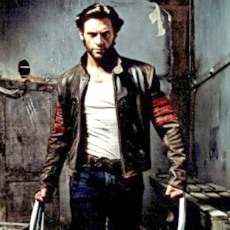 X-Men -Wolverine- Black- with- Red- Strips- Biker -Leather- Jacket