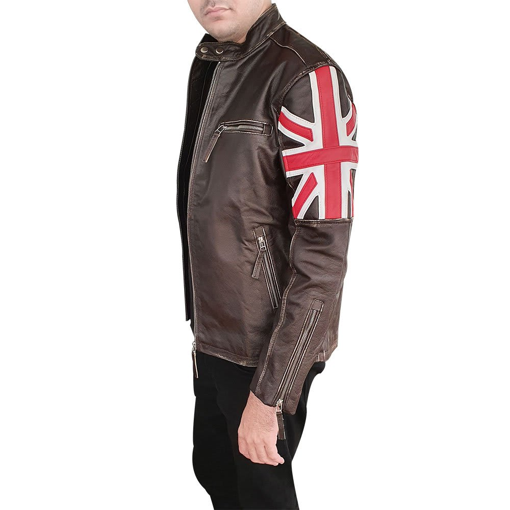 Men/'s Biker Vintage Distressed Brown Union Jack Cafe Racer Leather Jacket
