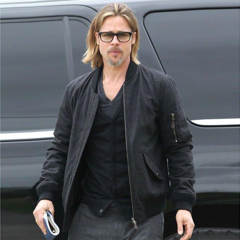 Brad-Pitt-Black- Bomber-Biker- Leather-Jacket