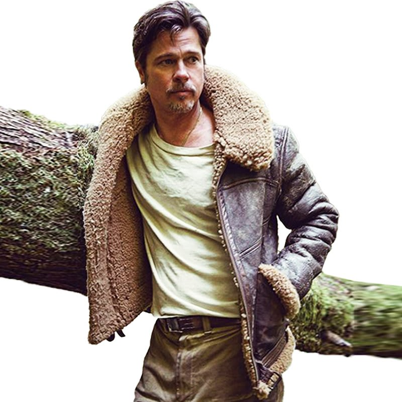 Brad-Pitt-Brown- Shearling-Lined- Leather-Jacket