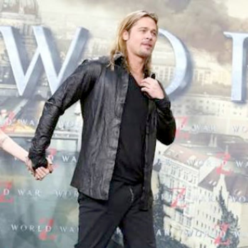 World-War-z- Premiere-Brad-Pitt-Black-Leather-Jacket