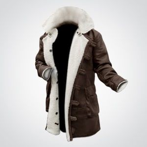 Dark-Knight-Rises Fur- Shearling-Distressed-Brown- Leather-Bane-Coat