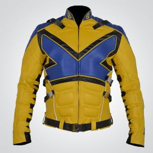 X-Men X PS V3 Muscles Sheep Blue & Yellow Leather Jacket
