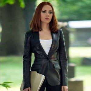 Captain- America- Natasha-Romanoff -Leather- Blazer-