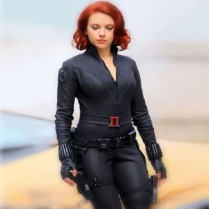 Black -Widow Avengers- 2012 Scarlet -Johansson Black- Leather -Jacket