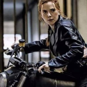 Black -Widow -Natasha-Romanoff- Black Biker- Leather- Jacket