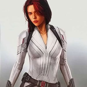 Scarlett Johansson Black Widow 2021 White Leather Jacket