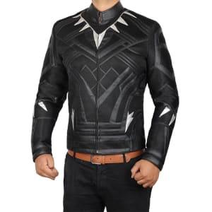 black panther movie leather jacket