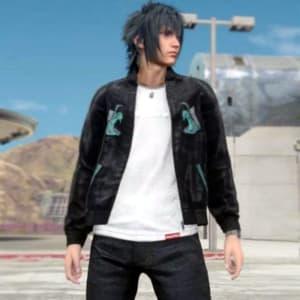 Final-Fantasy-15 Noctis-Black Varisty-Bomber Jacket