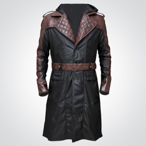 Assassins -Creed Brown-Leather Long-Coat