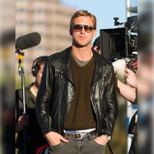 Ryan-Gosling Black-Biker Leather-Jacket