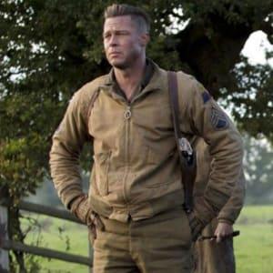 Brad-Pitt-Fury-Tanker-WW2- Military-Wardaddy- Bomber-Jacket