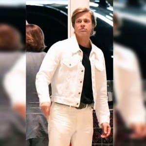 Cliff-Booth's-Brad- Pitt-White-Denim- Trucker-Jacket