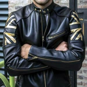 Union-Jack- Golden-UK-Flag- Cafe-Racer- Vintage- Motorcycle- Leather-Jacket