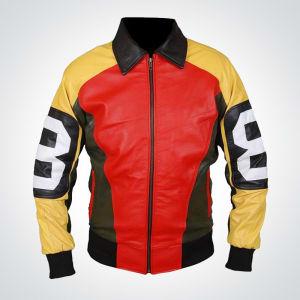 David Puddy 8 ball logo Bomber Leather Jacket