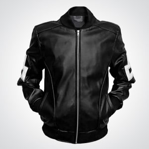 8-Ball-pool- Michael-Hoban- Bomber-Style- Black-Leather- Jacket