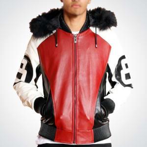 8-Ball-Logo- Bomber-Style-Fur-Hooded- Robert-Phillipe- Leather-Jacket