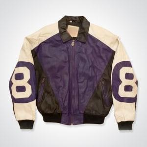 8-ball-Vintage-90s-Michael- Hoban-purple- and-Black- Bomber-Leather- Jacket