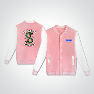 Riverdale-southside-serpent-pink-and- white-cool-varsity- jacket