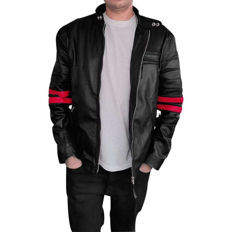 Hybrid Fight Club Sheep Leather Jacket Men's Real / Faux Leather Jacket
