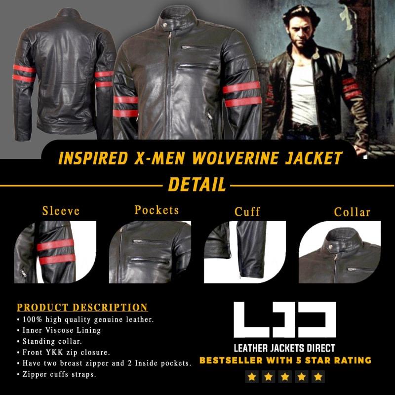 X-Men-Wolverine-Black- with-Red-Strips- Biker-Leather- Jacket
