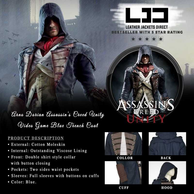 Arno Dorian Assassin's Creed Unity Video Game Blue Trench Coat