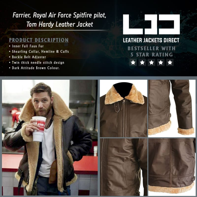 Farrier-Royal-Air-Force-Spitfire-pilot-Tom-Hardy-Shearling-Collar-Leather-Jacket – Dunkirk