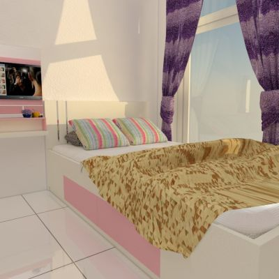 Bedroom with Pink & White Color | Niaga Art