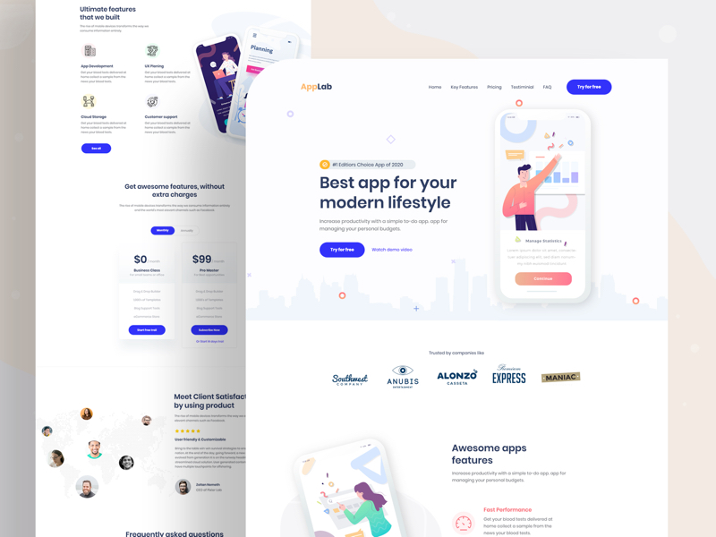 AppLab - App Landing Page for Photoshop