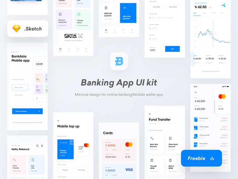 Banking Wallet App Free UI Kit for Sketch