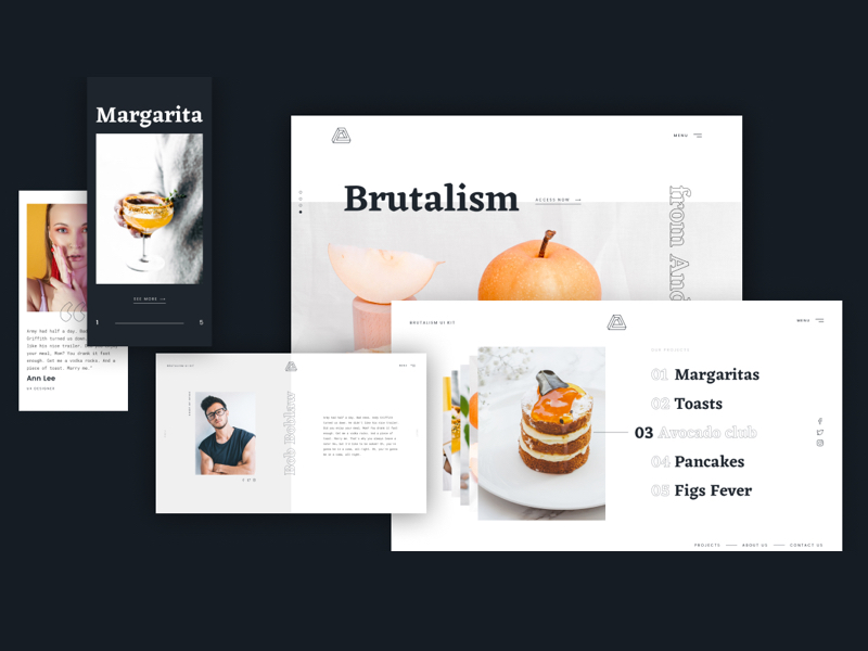 Free Brutalism UI Kit Artboards